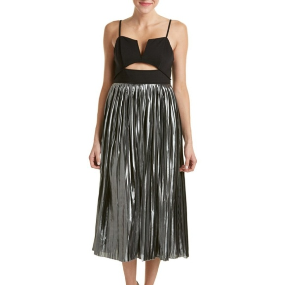 5086ef3bf8 Free People silver black piper pleated dress XS S